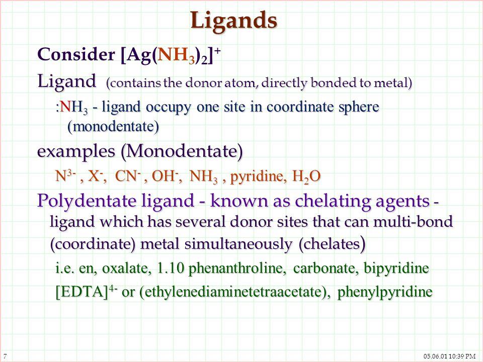 Ligands Consider [Ag(NH3)2]+